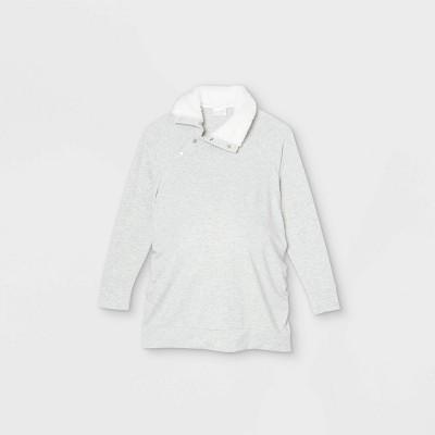 Maternity Snap Sherpa Collar Sweatshirt - Isabel Maternity by Ingrid & Isabel™
