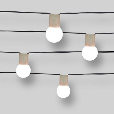 10ct String Lights Wood Grain Collar - G40 Frosted Bulbs - Project 62™