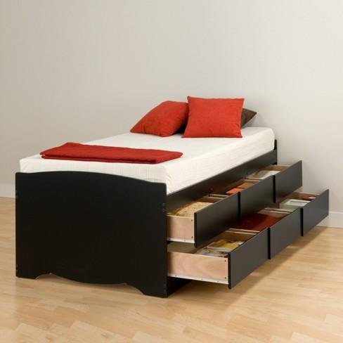 6 Drawers Captains Tall Twin Platform Storage Bed Black Prepac