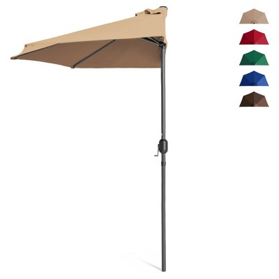 Best Choice Products 9ft Steel Half Patio Umbrella for Outdoor, Balcony, Deck, Yard w/ 5 Ribs, Crank Mechanism