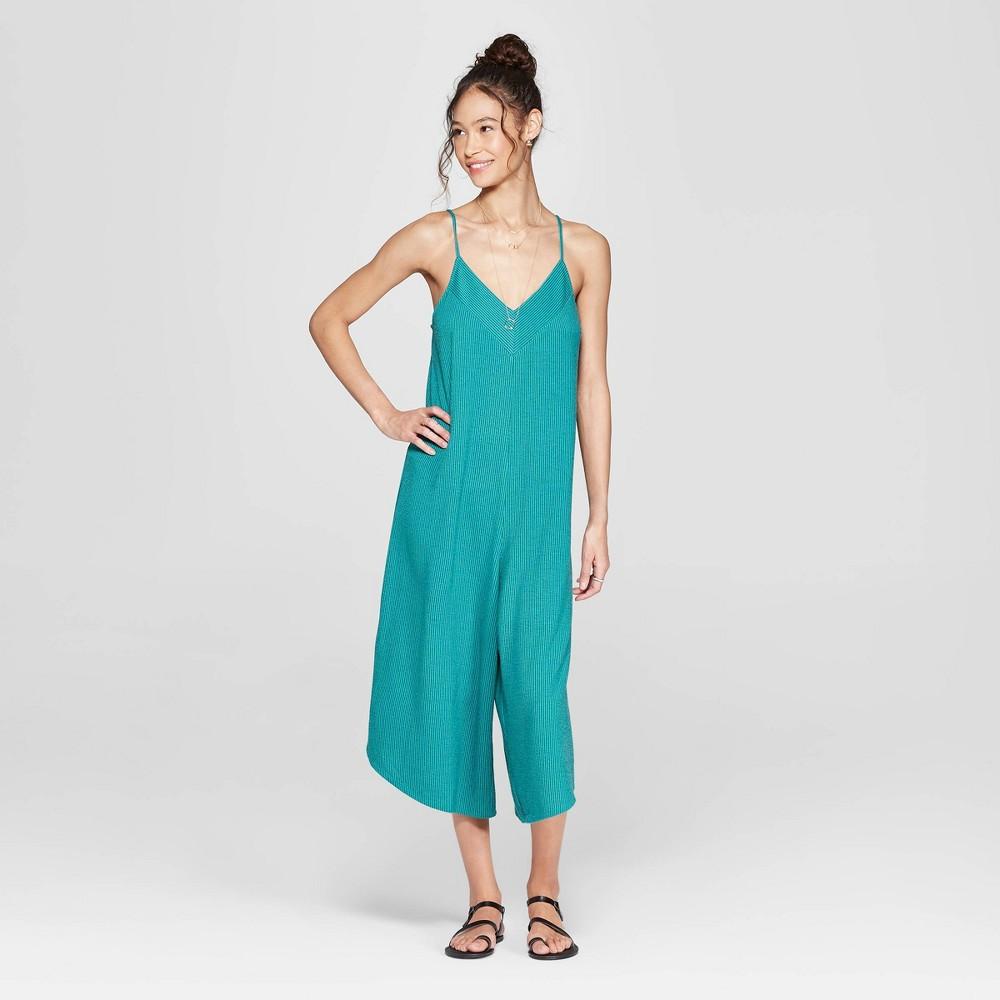 Women's Strappy V-Neck Knit Waistless Cropped Jumpsuit - Xhilaration Blue M