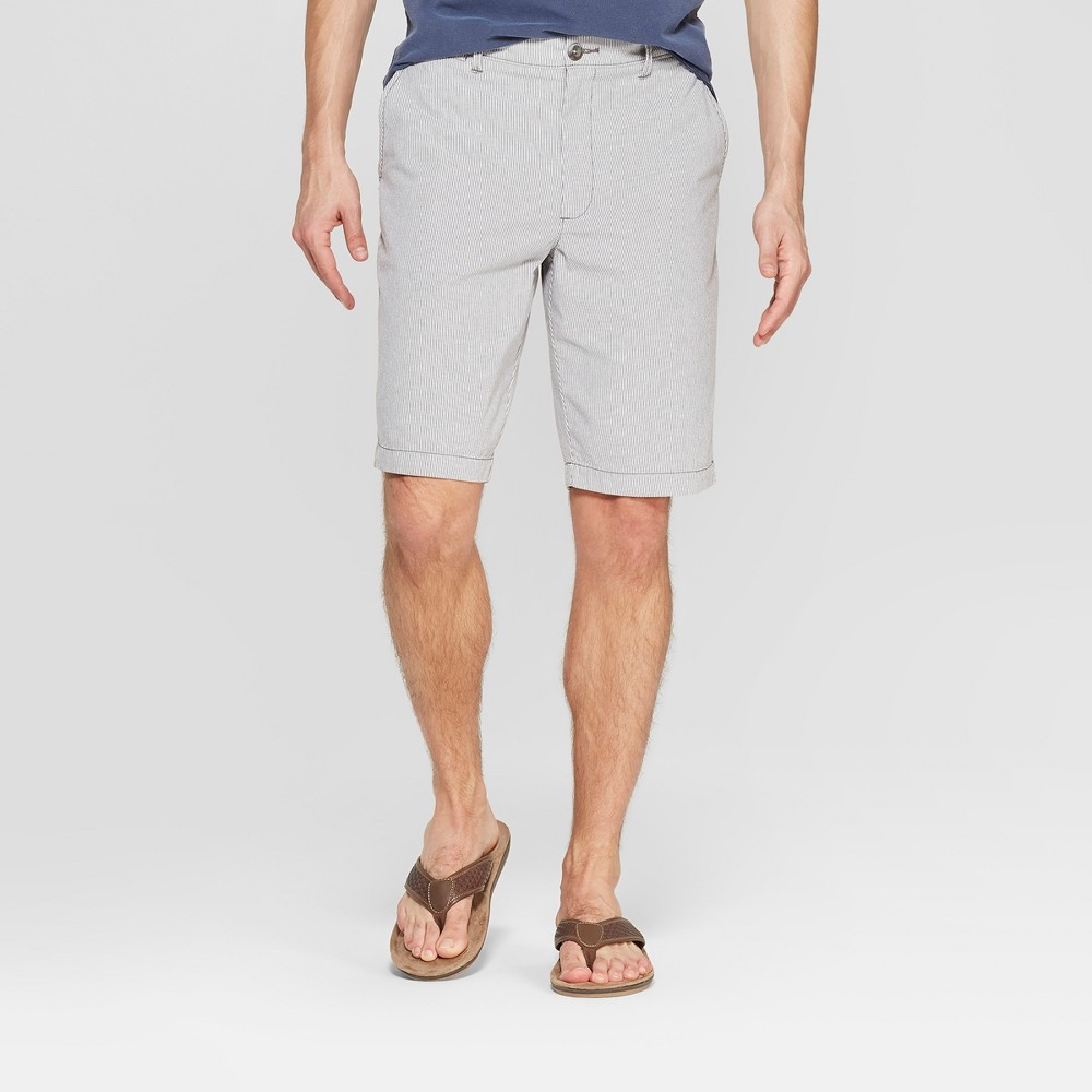 Men's 10.5 Striped Chino Shorts - Goodfellow & Co Gray 34