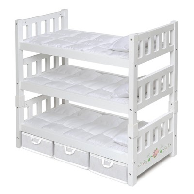 Badger Basket 1-2-3 Convertible Doll Bunk Bed with Bedding and Baskets - White Rose