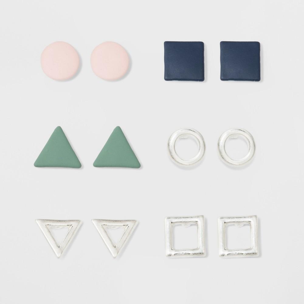 Multi Geometric Earrings 6pk - Universal Thread, Multi-Colored
