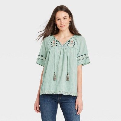 Women's Short Sleeve Embroidered Top with Tassels - Knox Rose™ Light Green
