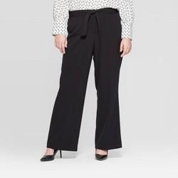 Women's Plus Size Belted Wide Leg Trouser - Ava & Viv™