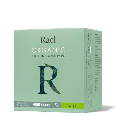 Rael Organic Cotton Large Menstrual Pads - Unscented 12ct