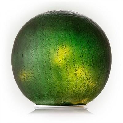 "Alpine 7"" Textured Glass Gazing Globe with LED Lights Green"