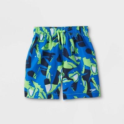 Speedo Boys' Electric Shark Print Swim Trunks - Blue