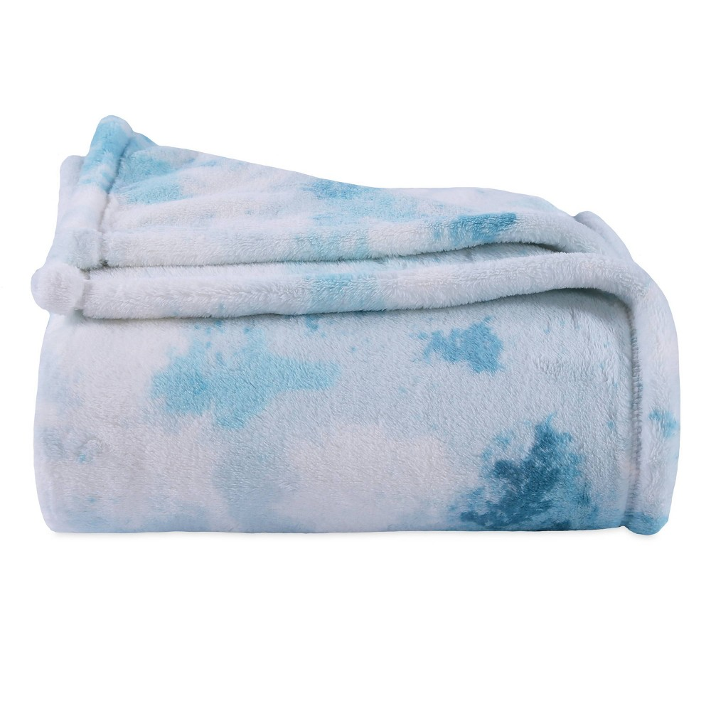 Image of Whimsical Watercolor Plush Throw Aqua - Better Living