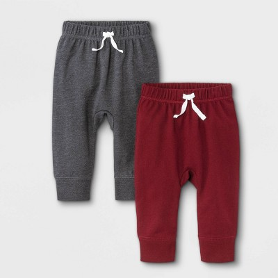 Baby Boys' 2pk French Terry Jogger Pull-On Pants - Cat & Jack™ Maroon/Charcoal Gray 0-3M