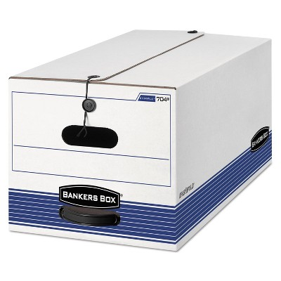 Bankers Box STOR/FILE Storage Box Legal String and Button White/Blue 4/Carton 0070503