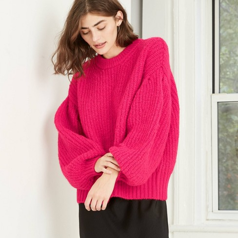 Women's Balloon Sleeve Boat Neck Pullover Sweater - A New Day™  - image 1 of 3