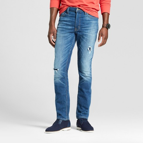 45f5a58edf Men's Slim Straight Fit Jeans With Patches - Goodfellow & Co™ Vintage Dark  Wash : Target