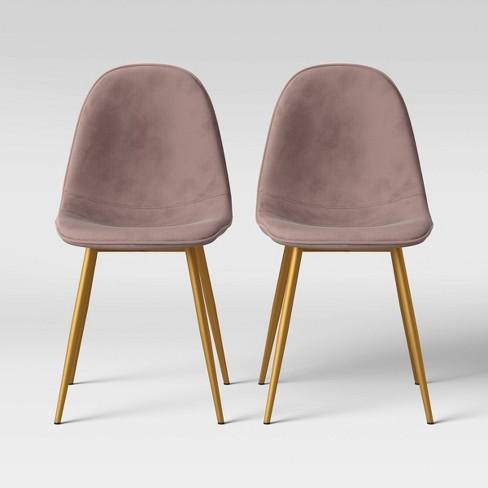 2pk Copley Velvet Dining Chair Blush Pink Brass Project 62 Target