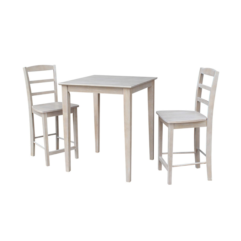 3pc Solid Wood 30x30 Counter Height Table and 2 Madrid Stools Washed Gray Taupe - International Concepts was $729.99 now $547.49 (25.0% off)
