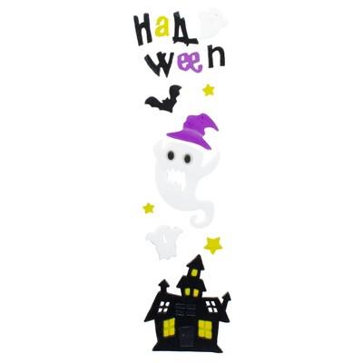 Northlight Purple and Black Haunted House Halloween Gel Window Clings