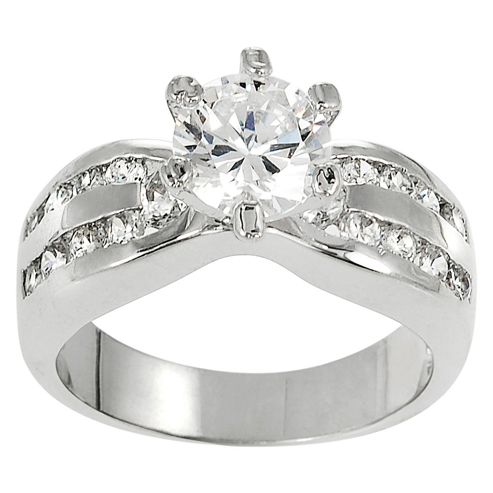 1/2 CT. T.W. Round-cut Cubic Zirconia Engagement Basket Set Ring in Sterling Silver - Silver, 7
