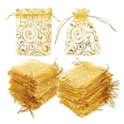 """Juvale 120PCS 4.8"""" Organza Bags, Gold Party Favor Bags with Drawstring, Premium Jewelry Pouches for Festival Gift Bags and Wedding Gifts"""