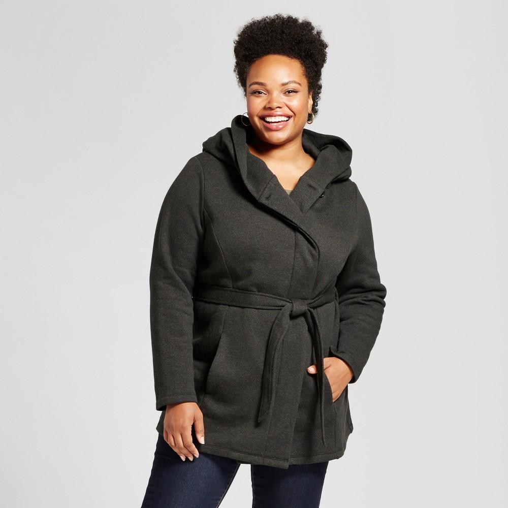 Plus Size Women's Plus Fleece Wrap Jacket - Ava & Viv Charcoal 4X, Black
