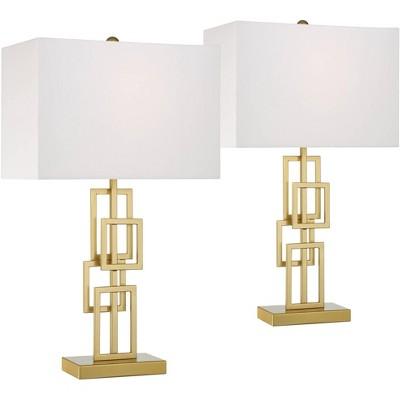 360 Lighting Mid Century Modern Table Lamps Set of 2 Brushed Gold Metal White Rectangular for Living Room Bedroom House Bedside