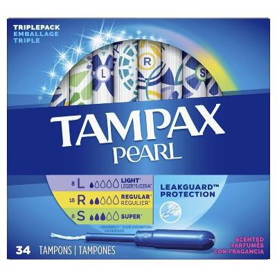 Tampax Pearl TriplePack With LeakGuard Braid Tampons - Lite/Regular/Super - Scented - Plastic - 34ct : Target