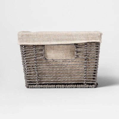"16x9x6"" Twisted Paper Rope Media Basket Gray - Threshold"