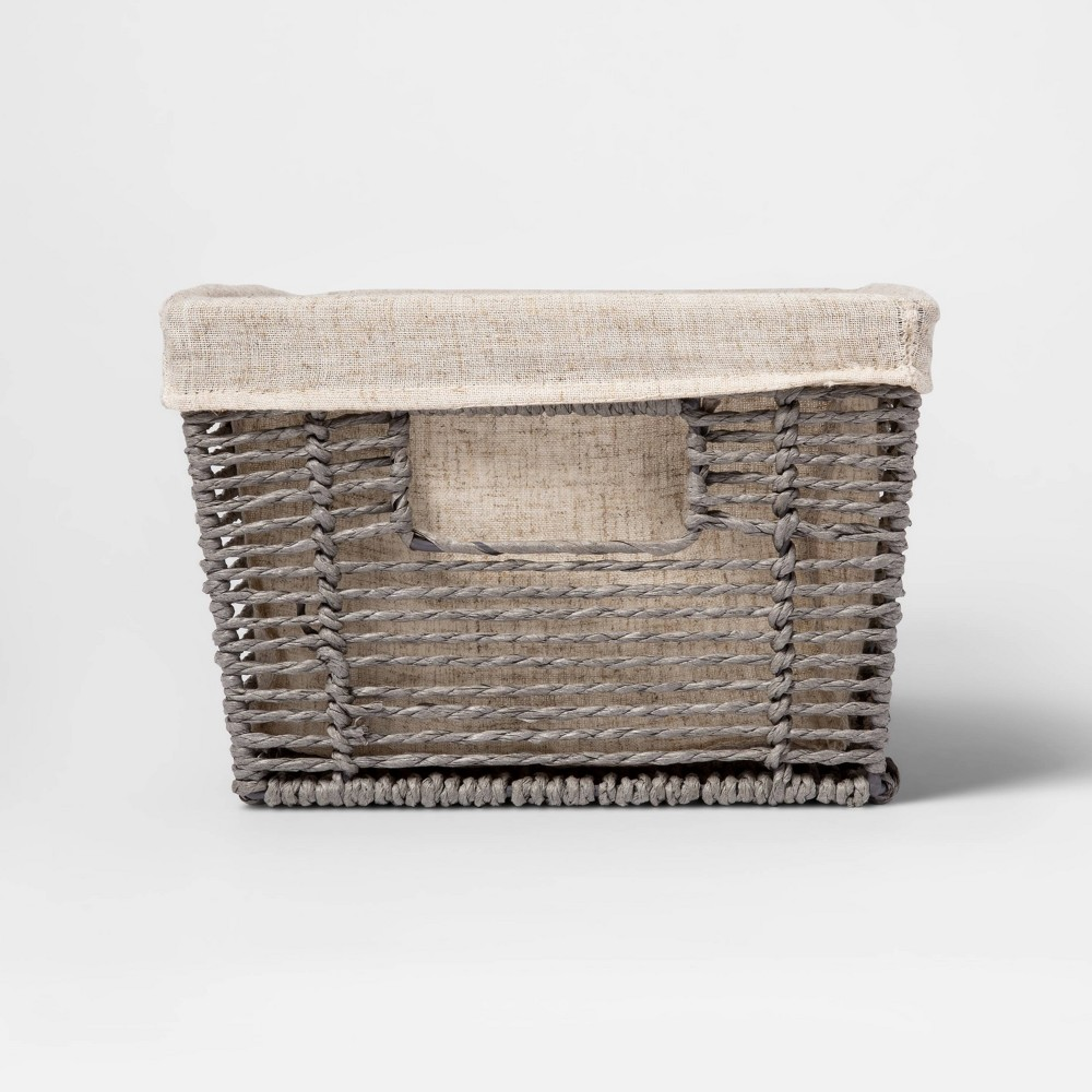 "Image of ""16 x 9 x 6"""" Twisted Paper Rope Media Basket Gray - Threshold"""