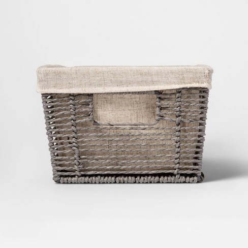 """16x9x6"""" Twisted Paper Rope Media Basket Gray - Threshold™ - image 1 of 3"""