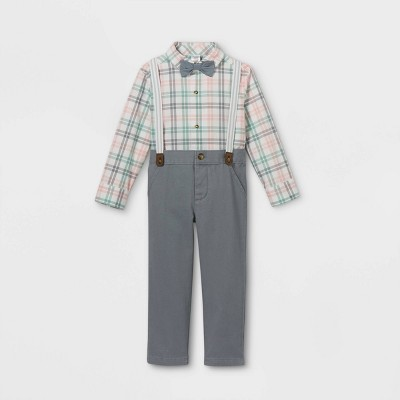 Toddler Boys' 3pc Dressy Plaid Top & Bottom Set with Bow Tie - Just One You® made by carter's Gray