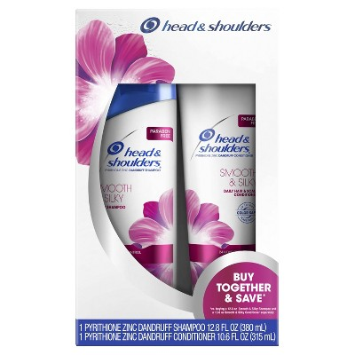 Head and Shoulders Smooth & Silky Paraben Free Dandruff Shampoo and Conditioner Bundle Pack