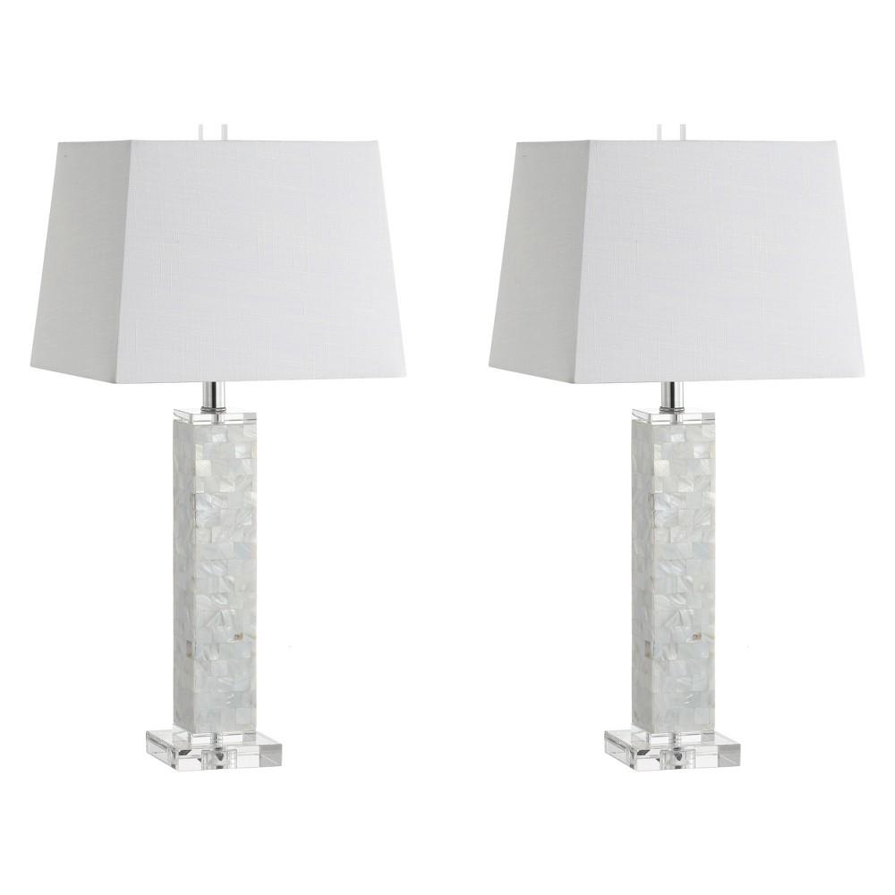 28.5 Noelle Seashell Led Table Lamp Set Of 2 White (Includes Energy Efficient Light Bulb) - Jonathan Y