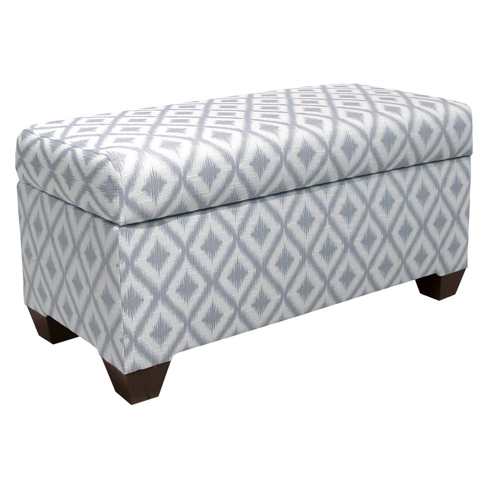 Skyline Custom Upholstered Storage Bench - Skyline Furniture, Ikat Fret Pewter