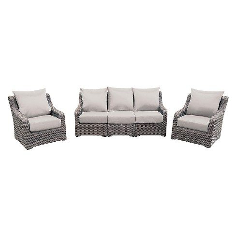 Cherry Hill 5pc All Weather Wicker Patio Deep Seating W Sunbrella Fabric Ae Outdoor