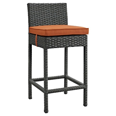 Sojourn Outdoor Patio Wicker Sunbrella® Bar Stool in Canvas Tuscan - Modway - image 1 of 1