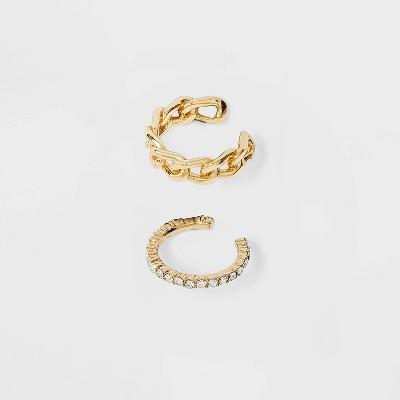 SUGARFIX by BaubleBar Gold Asymmetrical Ear Cuffs - Clear