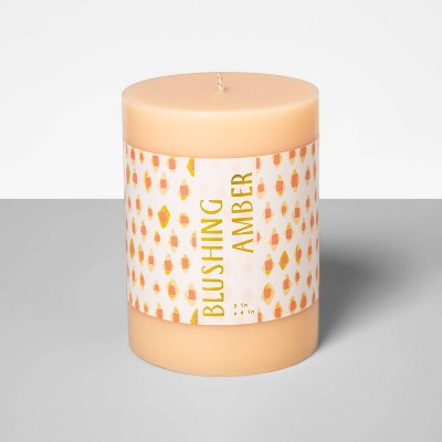 "4"" x 3"" Pillar Candle Blushing Amber - Opalhouse™"