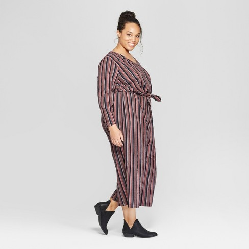 4f9fd8150cac Women s Plus Size Striped Long Sleeve Tie Front Jumpsuit - Universal Thread™  Navy   Target
