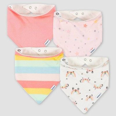 Gerber Baby Girls' 4pk Rainbow Bandana Bib
