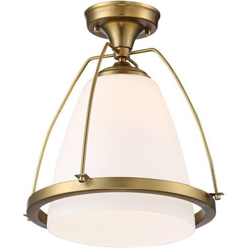 Possini Euro Design Modern Ceiling Light Semi Flush Mount Fixture Warm Brass 14 Wide White Glass Bedroom Kitchen Hallway Bathroom Target