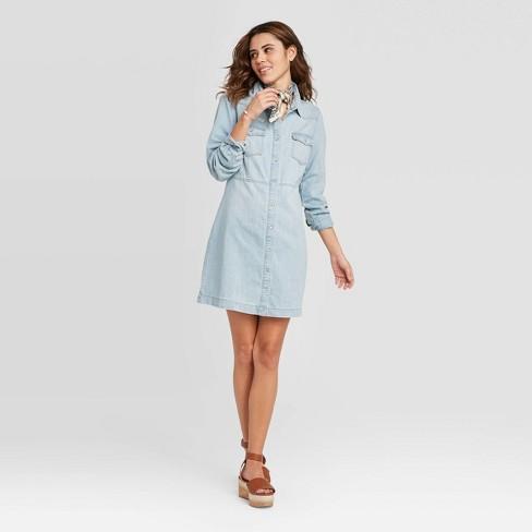 Women's Long Sleeve Western Denim Dress - Universal Thread™ Light Blue - image 1 of 3