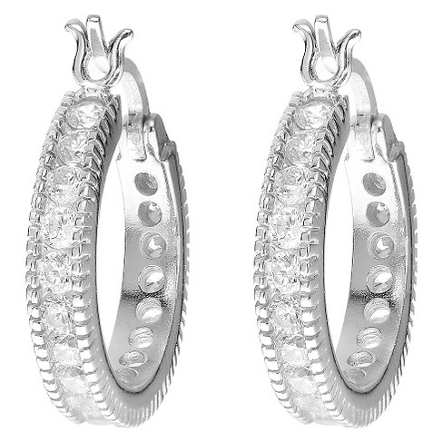 1 1/2 CT. T.W. Round-cut CZ Hoop Channel Set Earrings in Sterling Silver - Silver - image 1 of 2