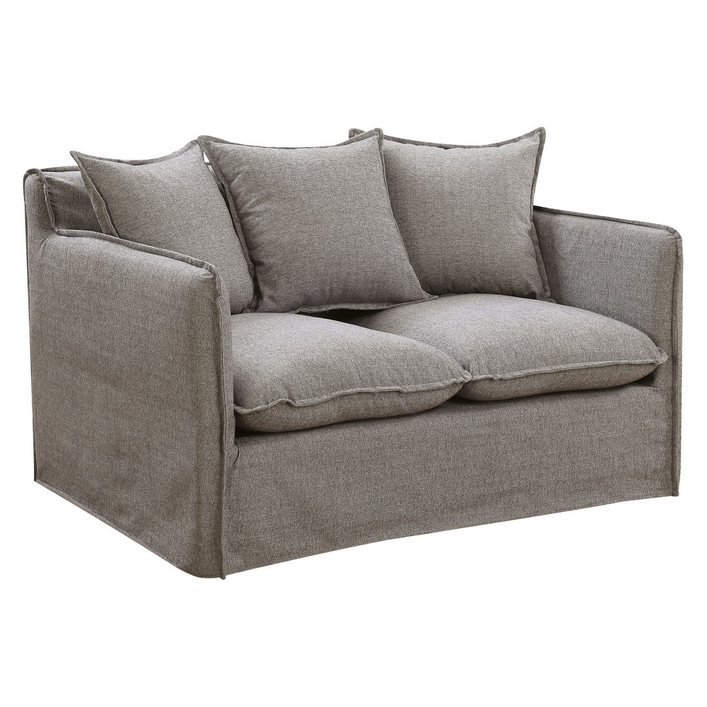 Iohomes Lazenby Transitional Welting Trim Loveseat Gray - Homes: Inside + Out