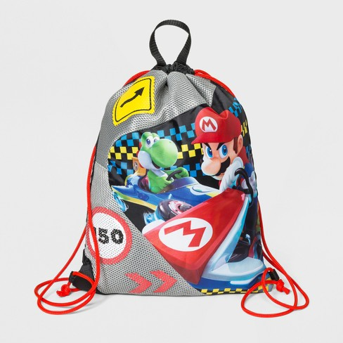 Boys Super Mario Drawstring Bag Black