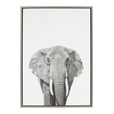 "23"" x 33"" Sylvie Elephant Framed Canvas by Simon Te Tai Gray - Kate and Laurel"