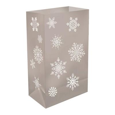 12ct Snowflake Plastic Luminaria Bags