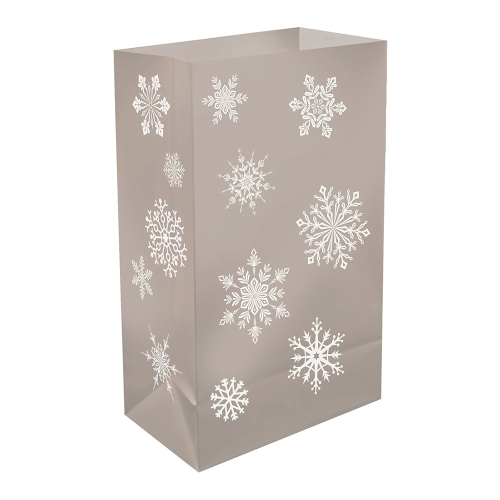 12ct Lumabase Sliver Snowflake Plastic Luminaria Bags, Silver
