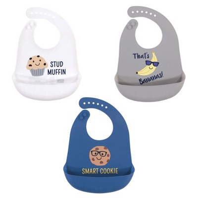 Hudson Baby Infant Boy Silicone Bibs 3pk, Stud Muffin, One Size