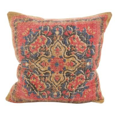 Saro Lifestyle 20 x20  Square Boho Mosaic Down Filled Throw Pillow Red