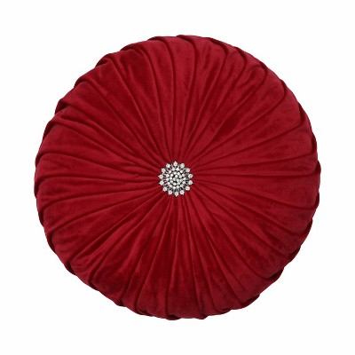 """14"""" Pleated Velvet Round Throw Pillow Red - Pillow Perfect"""